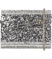 jimmy choo candy coc clutch in platinum acrylic