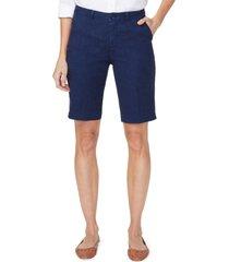 women's nydj stretch linen blend bermuda shorts, size 12 - blue