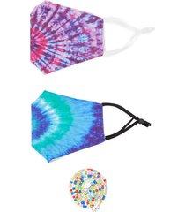 marcus adler women's 3-piece tie-dye mask & chain set