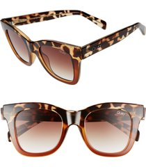 women's quay australia after hours 50mm square sunglasses - tortoise/ brown fade