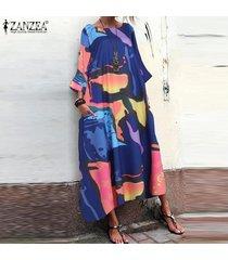 zanzea vestido camisero estampado floral para mujer kaftan tops vestido midi vestido batwing tallas grandes -azul
