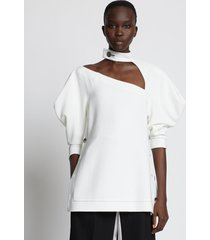 proenza schouler crepe puff sleeve cut out top offwhite 8
