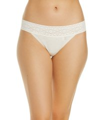 women's tommy john cool cotton lace thong, size x-large - beige