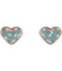 orecchini cuore in acciaio rosè e cristalli verdi per donna