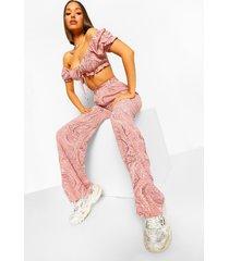 marmerprint wide leg broek met hoge taille, pink