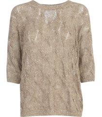 gentry v neck 3/4s sweater w/braid