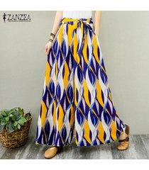 zanzea mujeres elásticos de la cintura de la impresión floral largos pantalones anchos piernas danza pantalones plus -amarillo