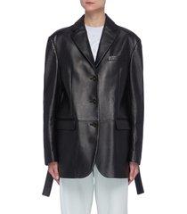 lambskin leather belted blazer