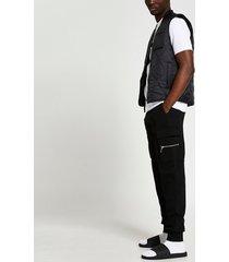 river island mens black slim fit cargo pants
