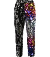 multi-pattern sequined trousers