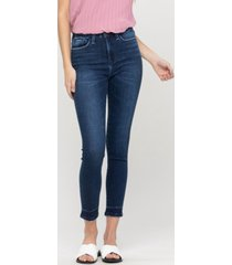 women's high rise seamless waistband ankle skinny jeans