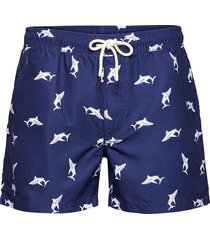 shark swim shorts badshorts blå oas