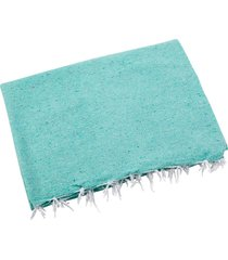 native yoga solid color woven blanket mint cotton