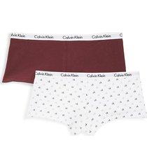 calvin klein women's 2-pack cotton blend boyshorts - grey stripe - size m