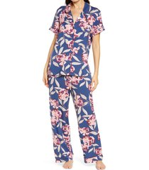 women's nordstrom moonlight dream crop pajamas, size x-small - blue