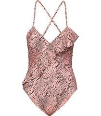 frill front maillot baddräkt badkläder rosa seafolly