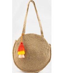 kimora circular straw tote - natural