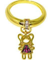 anel infine berloque filhos menina com zircônia banhado a ouro - tricae
