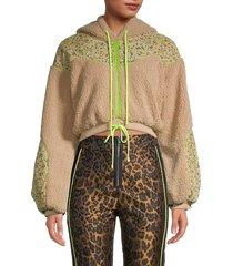 for love & lemons women's faux fur cropped hoodie - teddy - size xs
