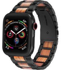 men's and women's black stainless steel wood for apple watch 38mm