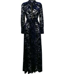 galvan devoré winter jungle dress - blue