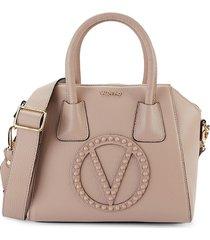 valentino by mario valentino women's minimi studded leather satchel - tan