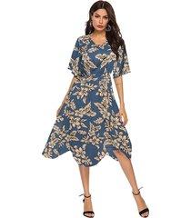 cintura elástica con estampado floral al azar azul asimétrico vestido