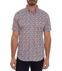 men's robert graham sail away classic fit short sleeve button-up sport shirt, size x-large - black