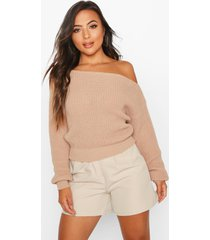 petite slash neck crop fisherman sweater, stone