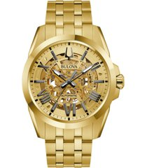 bulova men's automatic classic sutton gold-tone stainless steel bracelet watch 46mm