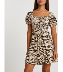 river island womens beige zebra ruched front mini dress
