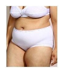 calcinha de algodão demillus caleçon clássica secret cintura alta com renda branca