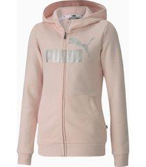 essentials+ sweaterjack met capuchon, roze/aucun, maat 140 | puma