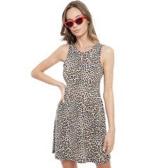 vestido efesis animal print pabilos multicolor - calce ajustado