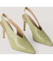 na-kd shoes slingback pumps med sömdetaljer - green