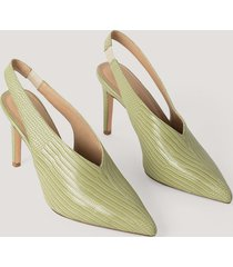 na-kd shoes slingback pumps med sömdetaljer - green