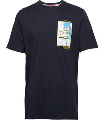 slhdon ss o-neck tee w ex t-shirts short-sleeved blå selected homme