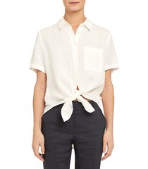 theory women's hekanina high-low linen blouse - white - size xxl
