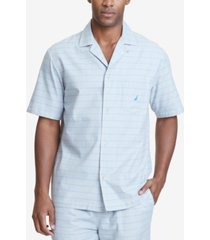 nautica men's windowpane plaid cotton pajama shirt