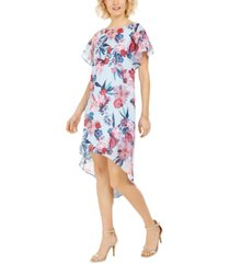 adrianna papell floral chiffon overlay dress