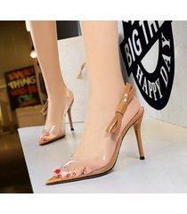 mujer taco sandalias zapatos de tacon con nudo ojal-nude