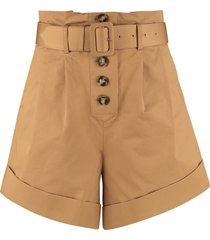 self-portrait camel canvas turn up shorts