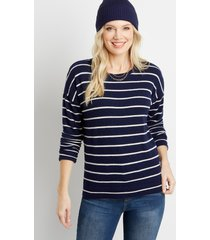 maurices womens navy stripe straight hem pullover blue
