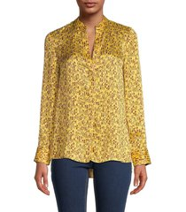 alice + olivia women's amos striped & floral shirt - yellow - size s