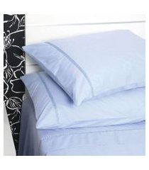 jogo de cama casal plumasul sianinha algodão 4 peças 233 fios azul