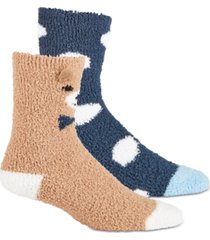 jenni women's 2-pk. bear & dot cozy crew socks, created for macy's