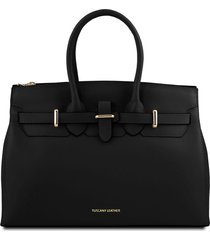 tuscany leather tl141548 elettra - borsa a mano media in pelle con accessori oro nero
