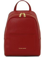 tuscany leather tl141701 tl bag - zaino piccolo in pelle saffiano da donna rosso