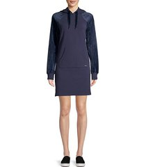 velvet-sleeve hooded sweatshirt dress