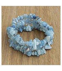 aquamarine beaded stretch bracelets, 'naturally aqua' (set of 3) (brazil)